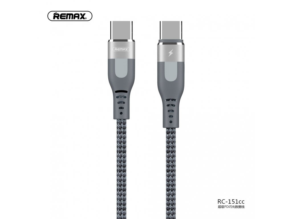 REMAX kabel USB SUPER PD 18W rychlé nabíjení TYP C - TYP C RC-151cc stříbrný