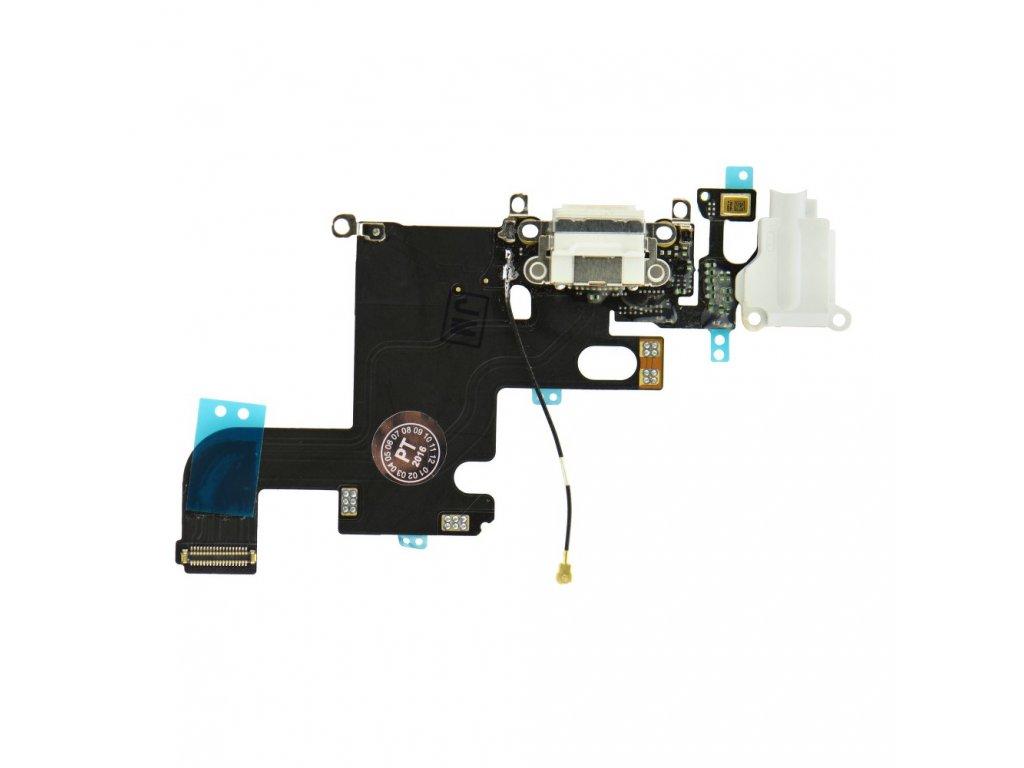 """Flex kabel konektoru nabíjení iPhone 6 (4.7"""") +HF+mikrofon - bílá"""