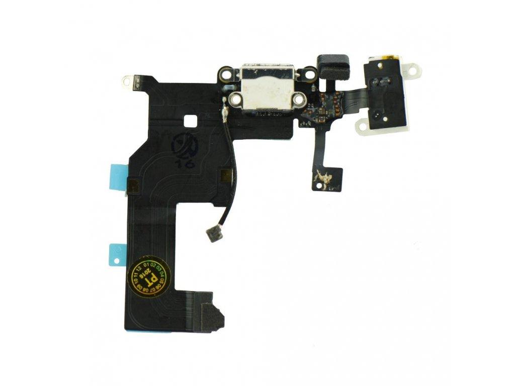 Flex kabel napájecího konektoru Apple iPhone 5 + Mik.+AV - bílá