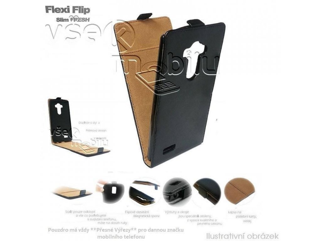 forcell pouzdro slim flip flexi fresh pro alcatel 5036d one touch pop c5 cerne w1200 cfff