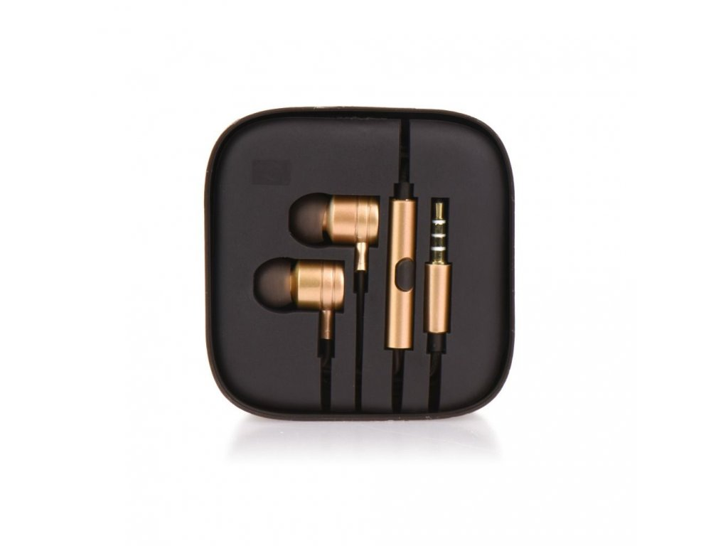 Sluchátka HF Stereo Android MI metal - 3,5mm, box - zlaté