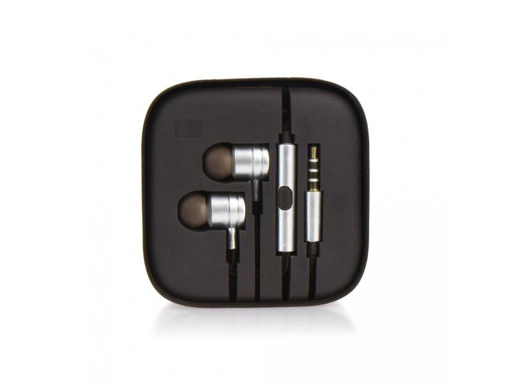 Sluchátka HF Stereo Android MI metal - 3,5mm, box - stříbrné