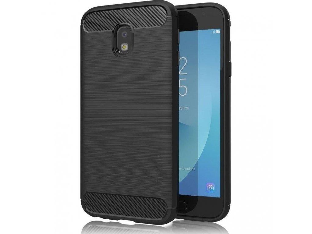 Pouzdro Forcell Carbon back cover pro Samsung J330 Galaxy J3 2017 - černé