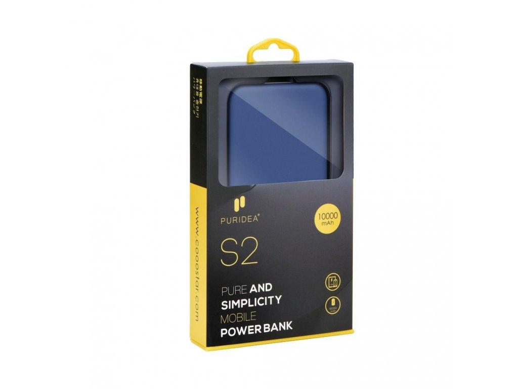 PURIDEA 10 POWER BANK - 10000mAh Externí baterie s Dvojitým USB výstupem - modrá