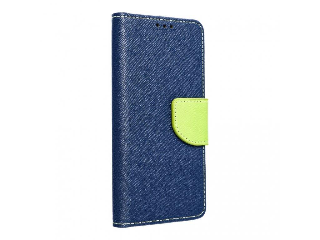 Pouzdro typu kniha Fancy LG K11 (K10 2018) navy blue - limonka