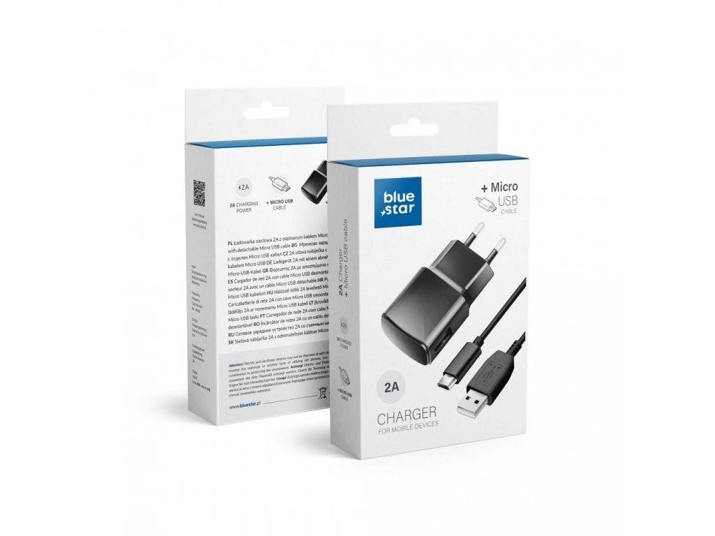 Nabíječka do sítě USB + Micro USB kabel - 2000mAh Blue Star