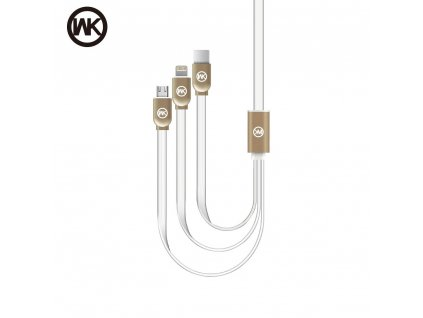 USB kabel WK-Design Platinium 3v1 microUSB/ lightning/ USB typ C - bílý