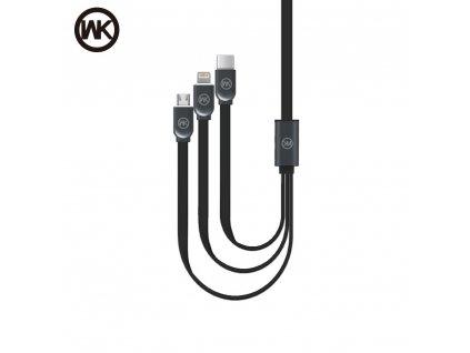 USB kabel WK-Design Platinium 3v1 microUSB/ lightning/ USB typ C - černý