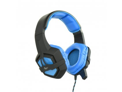 Herní sluchátka s osvětleným mikrofonem ART Flash - černé/ modré
