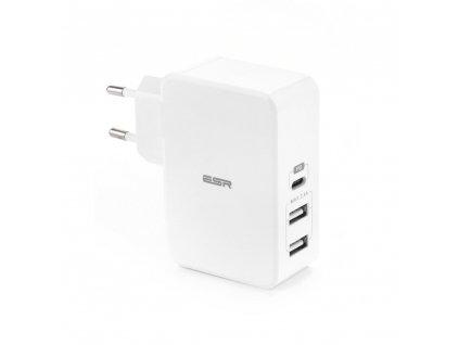 Univerzální sítová nabíječka  2x USB/ 1x USB TYP C [PD - Power Delivery] bílá