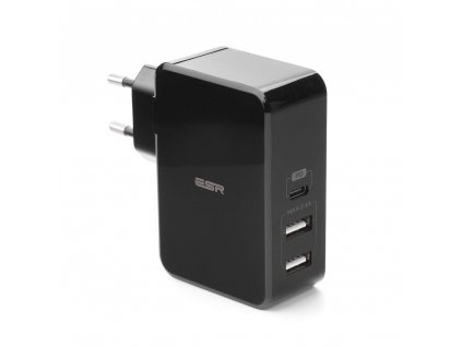 Univerzální sítová nabíječka  2x USB/ 1x USB TYP C [PD - Power Delivery] černá
