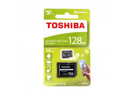 TOSHIBA Paměťová karta microSDHC 128GB Class 10 UHS-I U1 (100MB/s) vč. adapteru SD