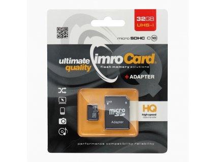 Paměťová karta IMRO microSDHC 32GB Class 10 + adaptér SD (Blister)