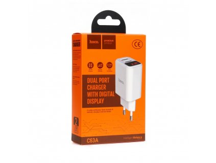 HOCO Síťová nabíječka 2x USB 2,1A LED (C63A) bílá