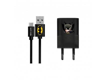 Síťová nabíječka Licencovaná Batman Typ C + odnímatelný kabel černá 003