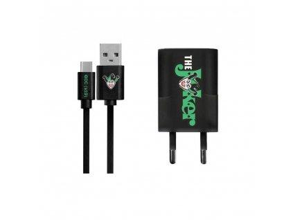 Síťová nabíječka Licencovaná JOKER Typ C + odnímatelný kabel černá 001