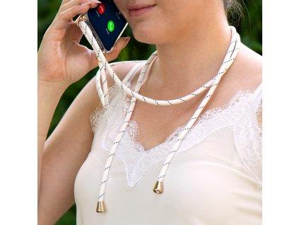 Pouzdro Forcell Cord Apple Iphone 5 / 5S / SE transparentní + bílá šňůrka