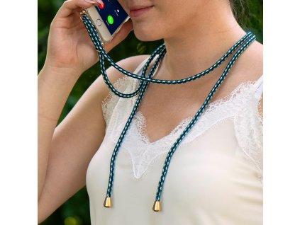 Pouzdro Forcell Cord Samsung S9 PLUS transparentní + zelená šňůrka