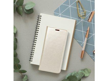 Pouzdro Magnet Flip Wallet Book Samsung Galaxy A70 zlaté