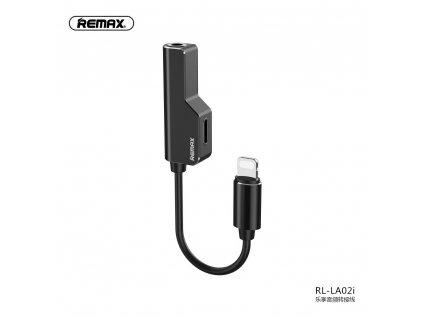 REMAX adapter audo/HF pro Apple Lightning + Lightning + AUX Jack 3,5mm - černý