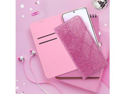 Pouzdro Forcell SHINING Book Samsung A70 růžové