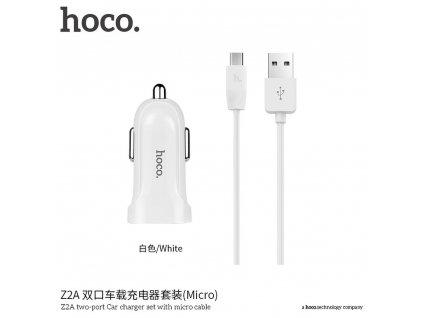 HOCO nabíječka do auta 2 x USB + kabel Micro Z2A 2,4A  bílá