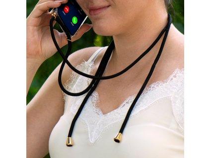Pouzdro Forcell Cord Huawei P40 Lite transparentní + černá šňůrka