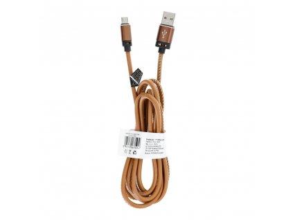Kabel USB - Micro Leather C184 2 metry světle hnědý