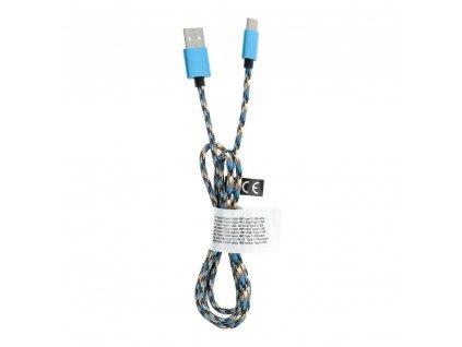 Kabel USB - Typ C 2.0 Nylon C248 1 metr modrý
