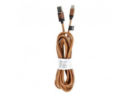 Kabel USB - Typ C 3.0 Leather C183 3 metry světle hnědý