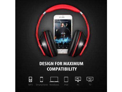Bluetooth bezdrátová sluchátka MPOW 059 - červeno-černá