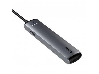 BASEUS HUB adaptér Typ C na 3x USB3.0 / HDMI / Typ C (Power Delivery) / Ethernet RJ45 šedá CAHUB-J0G