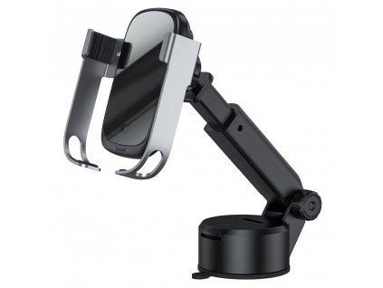 BASEUS držák s indukčním nabíjením pro mřížku / sklo / desku + nabíječka do auta ROCK-SOLID 15W stříbrný WXHW01-B0S