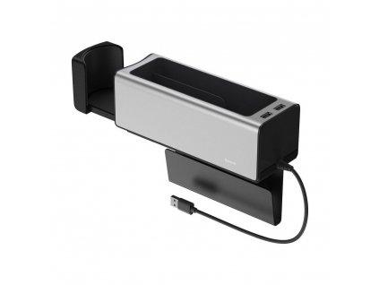 BASEUS organizér do auta + držák na pohár + 2x USB 2A stříbrný CRCWH-A0S