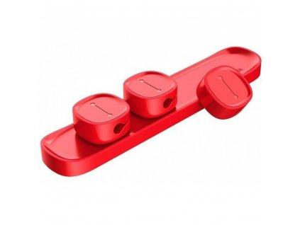 BASEUS samolepící magnetický organizér kabelů červená ACWDJ-09