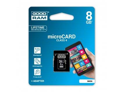 Paměťová karta GOODRAM microSD 8GB z adapterem SD