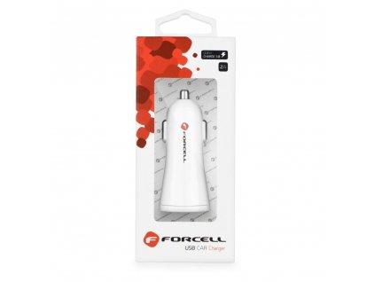 Forcell autonabíječka s USB - 2A Quick Charge 3.0 Bílá