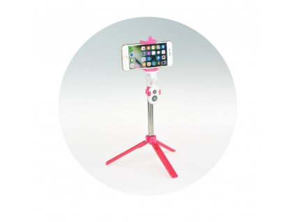 Selfie tyč / držák s dálkovým ovládáním stativ bluetooth - růžová