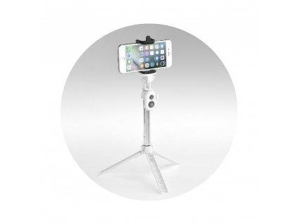 Selfie tyč / držák s dálkovým ovládáním stativ bluetooth - bílá