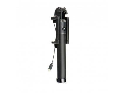Selfie držák pro Iphone s dálkovým ovládáním v rukojeti LIGHTING - černý