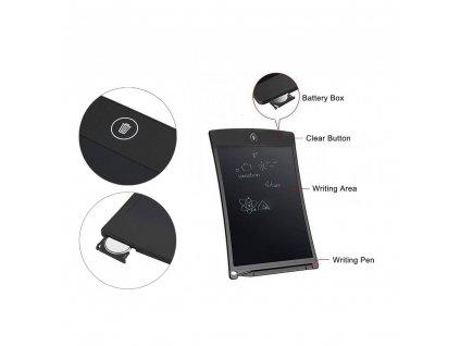 """LCD tablet pro psaní a kreslení Writing Board 8,5"""" - černý"""