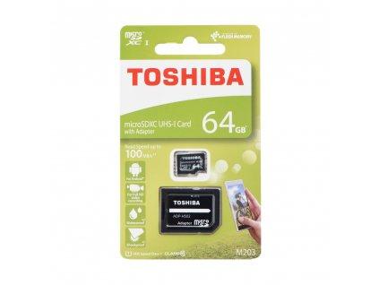 TOSHIBA Paměťová karta microSDHC 64GB M203 M203 Class 10 UHS-I U3 (100MB/s) + adapter SD