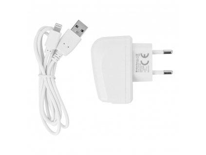 Cestovní Nabíječka Blue Star do sítě s odnímatelným Lightning->USB kabelem pro iPhone 5/6/6s - bílá