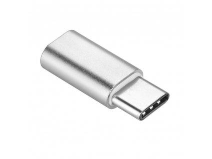 Adaptér nabíjení Micro USB - typ USB C [PA-30] stříbrný