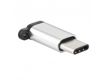 Micro USB nabíjecí adaptér - USB typ C [PA-30] s přívěskem - stříbrný