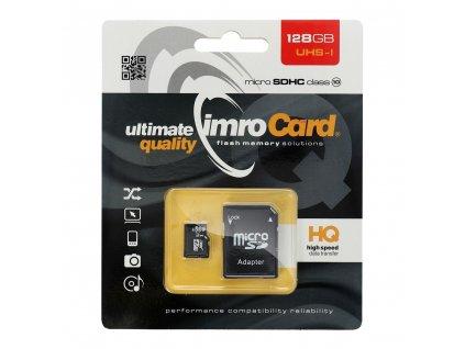 Paměťová karta IMRO microSD 128GB Class 10 UHS + adaptér SD (Blister)