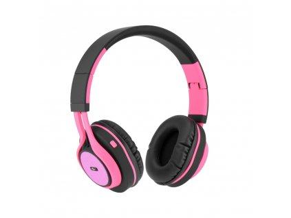 Stereo Bluetooth sluchátka s mikrofonem AP-B04 černo - růžové