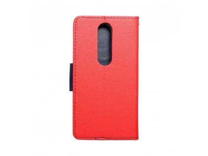 Pouzdro typu kniha Fancy Nokia X6 červené - navy blue