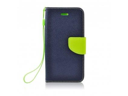 Pouzdro typu kniha Fancy Nokia X5 2018 navy blue - limonka