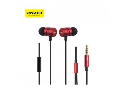 AWEI Q5i headset/ sluchátka (bez ovládání hlasitosti) - červené